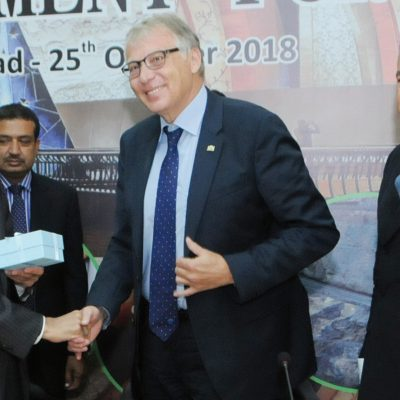 Bavarian Business Delegation to Pakistan, October 2018: Abdul Razak Dawood, Adviser on Commerce, Textile, Industry & Production and Investment with the status of Federal Minister, Mr. Rieger, Head of Delegation and Honorary Consul Dr. Poetis