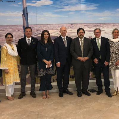 Bavarian Business Delegation to Pakistan, April 2019. Meeting with Zia-ul-Mustafa, Chief Financial Officer and Business Administrator, Pakistan Expo Center:  Suhail Anjum, Manager MIS, Farhat Rafi, Manager Sales and Business Development, Zia-ul-Mustafa, Chief Financial Officer and Business Administrator, Pakistan Expo Centres and Mafaz Ahsan, Punjab Board of Investment & Trade with business delegation
