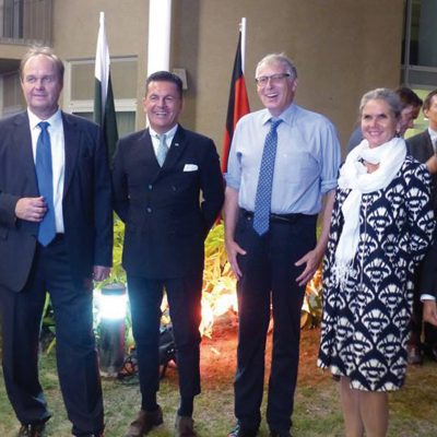 Bavarian Business Delegation to Pakistan, October 2018: Senior Ministerial Counsellor State of Bavaria Ulrich Konstantin Rieger, Consul General of Germany Eugen Wollfarth and President GPCCI Qazi Sajid Ali photographed at a dinner reception at the Consulate General Cash & Carry