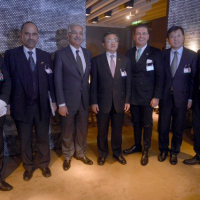 Economy Talks, February 2015: H.E. Hasan Javed, Pakistani Ambassador for Germany, H.E. Khawaja Asif, Pakistani Defence Minister, Liu Zhenmin, Chinese Vice-Foreign minister, Consul Dr. Poetis and Defence-Attachés of the Chinese and Pakistan Army