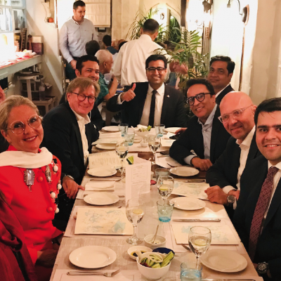 Bavarian Business Delegation to Pakistan, April 2019. Meeting at Sindh Board of Investment Dinner at OKRA with Masooma Sohail, Sohail Yasin Suleman, CEO, World Wide Group and Salman Sohail Yasin, Director, World Wide Group