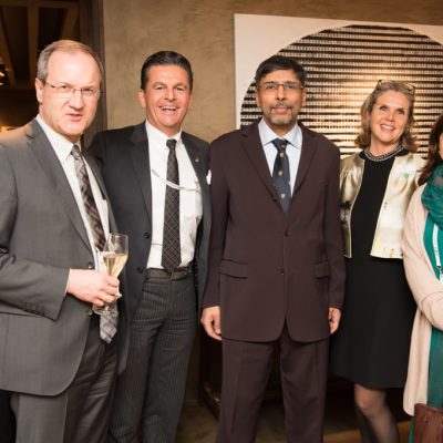 Economy Talks, February 2017: (from right) Mrs Rukhsana Afzaal, Minister (Political), Embassy of Pakistan, Berlin, Patricia Poetis, Chief Creative Offi cer, POWERGROUP GmbH, H.E. Jauhar Saleem, Ambassador of Pakistan to Germany, Consul Dr. Poetis, Honorary Consul of Pakistan in Germany and Prof. Dr. Gunther Hellmann, Professor of Political Science, Goethe University, Frankfurt