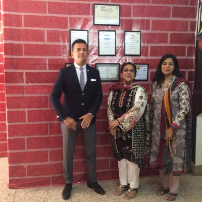 Consul Dr. Poetis during a visit to school in Pakistan