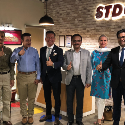 Bavarian Business Delegation to Pakistan, April 2019. Meeting Rehan Hamid, Executive Officer,  Sindh Transmission & Dispatch Company (STDC):  Dr. Michael Kerkloh, CEO, Munich Airport, Muhammad Saleem Shaikh, General Manager (Technical), Sindh Transmission & Dispatch Company (PVT.) Limited, Honorary Consul Dr. Pantelis Christian Poetis, CEO, POWERGROUP,  Rehan Hamid, Chief Executive Officer, Sindh Transmission & Dispatch Company (PVT.) Limited, Patricia Poetis, MD, Life Fund Equity Invest, Murad Mehmood, G.A.T.E. to Pakistan, Philomena Poetis, MD, Munich Members