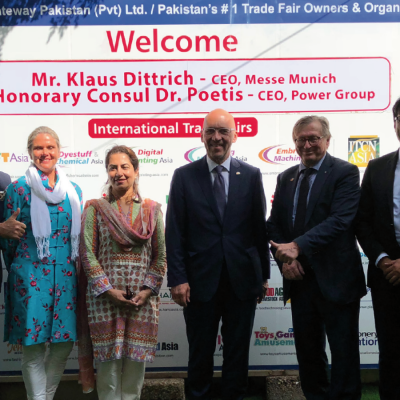 Bavarian Business Delegation to Pakistan, April 2019. Philomena Poetis, MD, Munich Members, Honorary Consul Dr. Pantelis Christian Poetis, CEO, POWERGROUP, Patricia Poetis MD, Life Fund Equity Invest, Dr. Samia K. Babar, MD, Mediators Marketing, Klaus Dittrich, CEO, Messe Muenchen  (Munich Trade Fair), Dr. Michael Kerkloh, CEO, Munich Airport, Murad Mehmood, G.A.T.E. to Pakistan, Farhan Anis, Vice President, Ecommerce Gateway