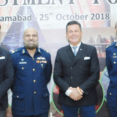 Bavarian Business Delegation to Pakistan, October 2018: Pericles Poetis, Project Manager, POWERGROUP GmbH, Dr. Liaquat Ullah Iqbal, Pakistan Air Force, Honorary Consul Dr. Poetis, Dr. Ibraheem Haneef, Director Air University