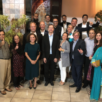 Bavarian Business Delegation to Pakistan, April 2019. Dinner at the residence of Qazi Sajid Ali, President GPCCI:  Wajid H. Junejo, Plant Manager, engro fertilizers, Qazi Sajid Ali, Chief Executive President GPCCI, DADEX, Mrs. Junejo, Eugen Wollfarth, German Consul General, Mrs. Wollfarth, Qazi Yasir Ali, Managing Director, SWAN International Pvt Ltd., Ingolf Vogel, development and cultural attaché of German Consulate in Karachi, Sohail Yasin Suleman, CEO, World Wide Group, Philomena Poetis, MD, Munich Members, Patricia Poetis, MD, Life Fund Equity Invest, Honorary Consul Dr. Pantelis Christian Poetis, CEO, POWERGROUP, Dr. Michael Kerkloh, CEO, Munich Airport, Murad Mehmood, G.A.T.E. to Pakistan, Mian Abrar Ahmad, CEO, Ahmad Group (Pvt) Ltd., Polymers Engeneering (Pvt) Ltd., Wasim Mirza, Managing Director,  Pakistan Specialty Chemicals (Pvt.)