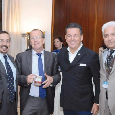 Bavarian Business Delegation to Pakistan, October 2018: Dr. Dr. Talat Mahmood, CEO, B2P GmbH, Khalid Tamton, CEO of BurraQ int´l USA, H.E. Martin Kobler, German Ambassador for Pakistan, Honorary Consul Dr. Poetis, Sikander Mir-Kohler, Former Honorary Investment Counsellor, Board of Investment, Pakistan, Murad Mehmood, Manager of Business Delegations