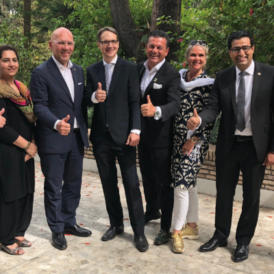 Bavarian Business Delegation to Pakistan, April 2019. Lunch at German Embassy in Islamabad:  Delegation team with Dr. Jens Jokisch, Minister Counsellor, Acting Ambassador, in German Embassy's garden in Islamabad.