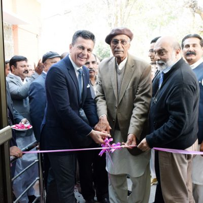 Celebration of the first Patty´s Child Clinic, January 2016: Opening of the first Patty´s Child Clinic. Consul Dr. Pantelis Christian Poetis together with Dr. Pervaiz Imtiaz, DG, Irmnich Health Department and former Mayor and Ahsan Mehmood, Nazim Chillianwala.