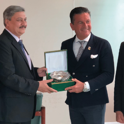 Bavarian Business Delegation to Pakistan, April 2019. Shahrukh Nusrat, Director General & Chairman CAA Board, Pakistan Civil Aviation Authority, welcomes his guests.