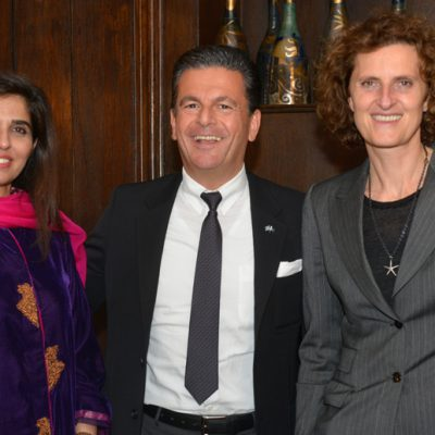 Sindh Delegation in Bavaria, April 2016:  Naheed Memon, Chairperson Sindh Board of Investment, Consul Dr. Poetis, CEO POWERGROUP and Innegrit Volkhardt, Managing Director Hotel Bayerischer Hof