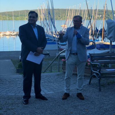 H.E. Ambassador Dr. Mohammad Faisal being introduced by Dr. Michael Kerkloh, President of Export Club Bayern at Münchner Yacht Club ©HonorarkonsulatPakistanMUC