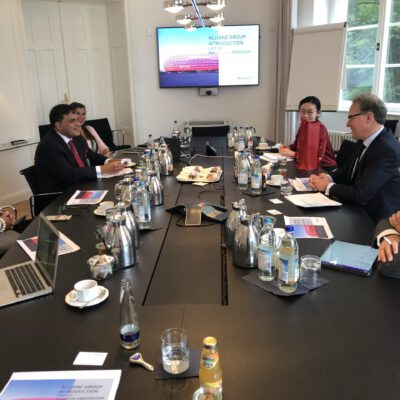 Uwe M. Michel, Executive Vice President, Allianz SE discussing investment opportunities in Pakistan with H.E. Ambassador Dr. Mohammad Faisal and Honorary Consul Dr. Pantelis Christian Poetis at Allianz offices in Munich  ©HonorarkonsulatPakistanMUC